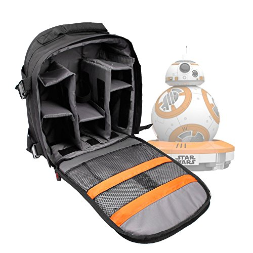 Duragadget Premium Quality  Water Resistant Compact Backpack Organiser For R2 D2 App Enabled Droid By Sphero   Sphero Bb 9E   Bb 8 Star Wars Droid   With Customizable Interior   Additional Raincover