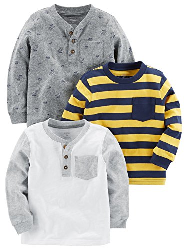 Simple Joys by Carter's Baby Boys' Toddler 3-Pack Long Sleeve Shirt, Yellow Stripe, Gray, White, - Shirt 4t