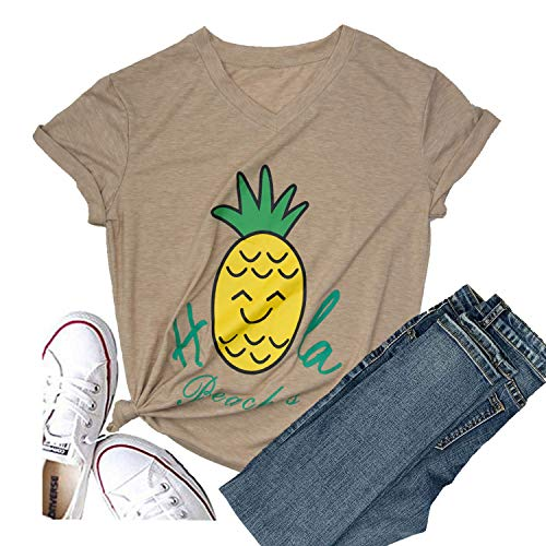 Hellopopgo Pineapple Printed Funny T Shirt Women's Summer Tops Fruits Lover Short Sleeve Graphic Tees Tops Girl (XX-Large, Light Brown-Yellow Pineapple)