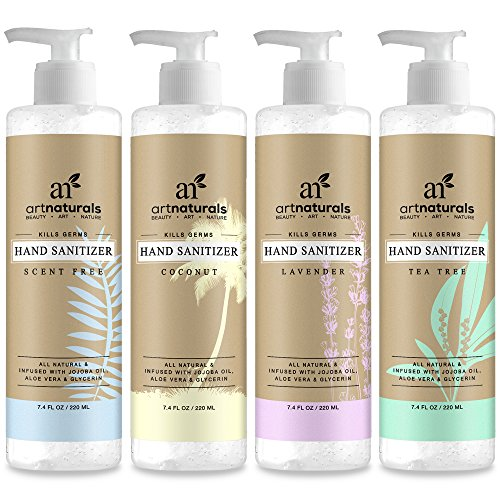 Active Ingredient Hand Sanitizer (ArtNaturals Natural Hand Sanitizer Gel – (4 x 7.4 Oz) – Made with Essential Oils, Jojoba Oil, Aloe Vera and Glycerin Infused Formula - Set Includes Scent Free, Coconut, Lavender and Tea Tree)