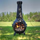 The Blue Rooster Co. Grape Cast Iron Wood Burning Chiminea in Charcoal.