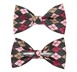 amy2004marie Men's Pink Argyle Clip On Cotton Bow Tie Novelty Bowtie