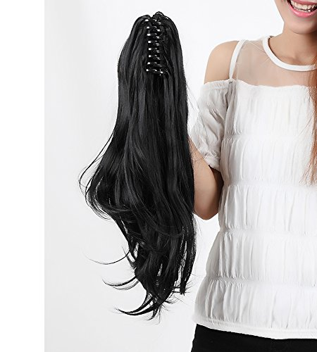 """LAY Claw on Ponytail Clip in Hair Extensions Straight Curly Wavy 18-26 INCH & 145g Long Hair Piece Women Pony Tail (18""""(45cm)-Curly, Dark Black)"""
