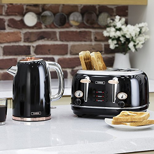Set Of 7 Tower Retro Stylish Kitchen Rose Gold Black Small