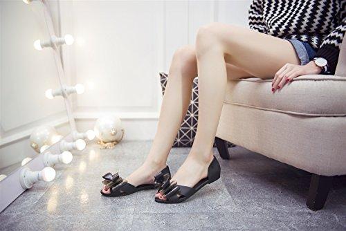 TMKOO zapatos de la jalea arco sandalias de la cabeza de pescado zapatos nuevos Negro