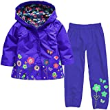 Zainafacai Kids Waterproof Suit, 2018 Lightweight Windbreaker Hooded Jacket Raincoat Hoodie+Pants (Dark Blue, 130)