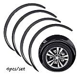 4pcs Universal Car Wheel Fender Trim Kit Widening Wheels Interior Fender Bars Carbon Fiber Color for Benz BMW VW Ford Jeep USW All Cars (Black)