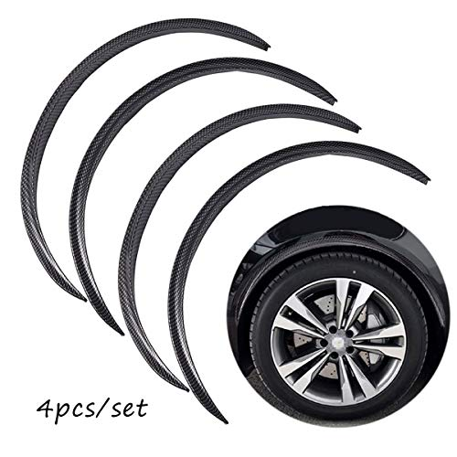 4pcs Universal Car Wheel Fender Trim Kit Widening Wheels Interior Fender Bars Carbon Fiber Color for Benz BMW VW Ford Jeep USW All Cars (Black)