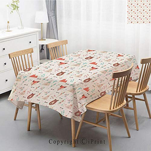 Premium Linen Printed Tablecloth,Ideal for Grand Events and Regular Home Use,Machine Washable,40x60 Inch,Tribal,Cute Ethnic Primitive Fox Arrows Bear Lodge Houses Feather Graphic,White Salmon Am