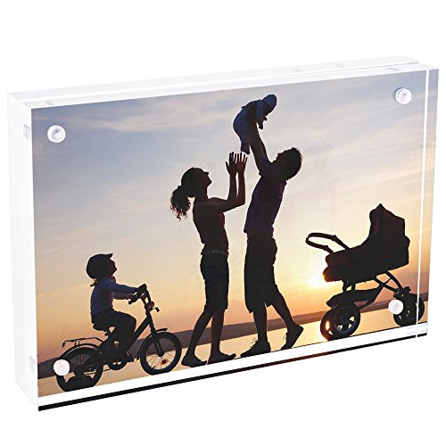 TWING Premium Acrylic Photo Frame - 4x6 inches Magnet Photo Frame -Double Sied Thick Desktop Frames
