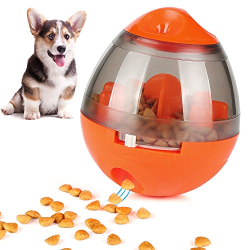 ONSON Interactive Dog Toy - Food Dispenser Ball Toy for Small Medium Large Dogs Durable Chew Ball - Boredom Puzzle Toys Food Slow Feeder Tumbler IQ Treat Ball (Interactive Dog Toy - Orange) by ONSON