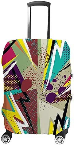 スーツケースカバー トラベルケース 荷物カバー 弾性素材 傷を防ぐ ほこりや汚れを防ぐ 個性 出張 男性と女性カラフルなスプラッシュインクの背景