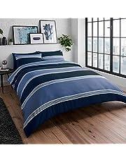 Sleepdown Marinblå randig vändbar mjuk lättskött påslakan täcke sängkläder set med örngott – super king (260 cm x 220 cm)