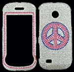 Samsung Eternity 2 A597 Case Cover Bling Diamonds Textured Stones Sparkle Fitted Case Cell Tronics TM Peace Sign