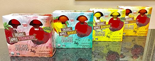 Trader Joe's Organic Applesauce Crushers (Apple, Apple Strawberry, Apple Banana, and Apple Carrot) (Pack of 4) 16 - 30 gms. pouches