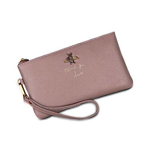 Ophlid Bee Wristlet Purse for Women, Genuine Leather Wristlet Clutch with Strap (pink) by Ophlid