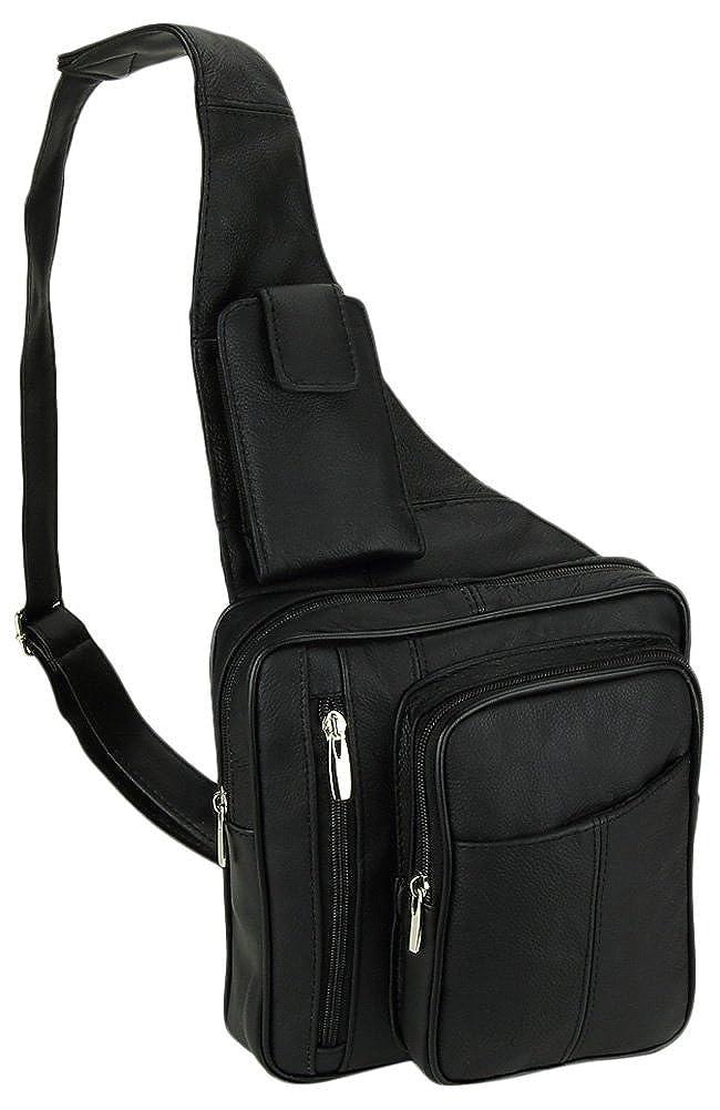 Leather Black Cowhide Multi-Pocket Organizer Carry All Cross-Body Shoulder Messenger Sling Bag with Key Ring Carabiner