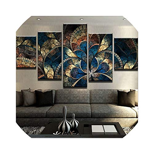 (Wall Art Picture Abstract Canvas Painting Wall Art Oil Poster Wall Pictures 5 Panel Fantasy Flowers for Living Room Home Decor Frames Modular,40X60 40X80 40X100Cm,Frame)