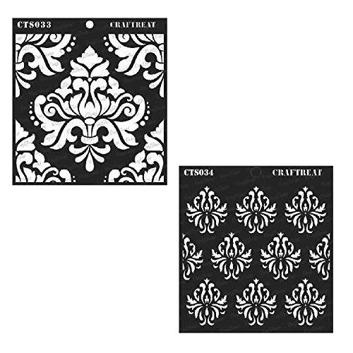 CrafTreat Stencil - Bold Damask & Damask Background (2 pcs) | Reusable Painting Template for Home Decor, Crafting, DIY Albums, Scrapbook and Printing on Paper, Floor, Wall, Tile, Fabric, Wood 6