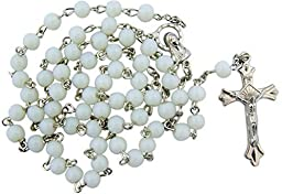 1 X White Glass Beads Rosary, 6mm Beads, Great for Women or Girls. Perfect for First Communion, Rcia or Confirmation.