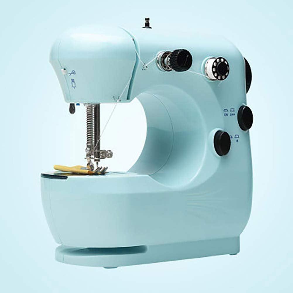 LXJ-KLD Doméstica pequeña máquina de Coser, Mini Escritorio Multifuncional Totalmente automático Comer Gruesa Mini máquina de Coser eléctrica,Azul