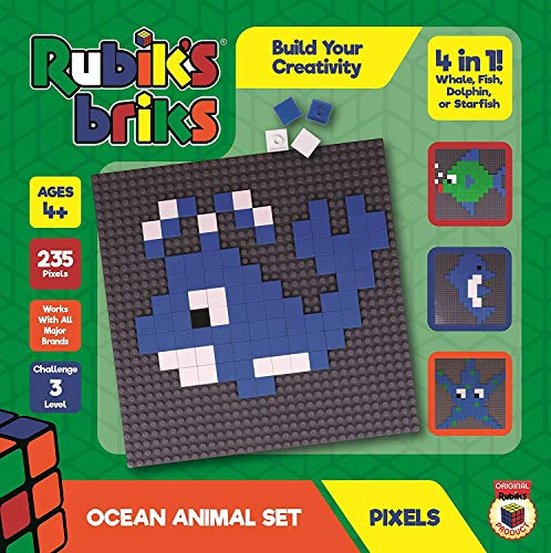 (YEZI Strictly Briks Rubiks Briks 2x2 Ocean Pixel Set | STEM Toys from Inventor of Rubik's Cube | 4-in-1 Mosaic Art | Whale, Fish, Dolphin, Starfish | Includes 32x32 Baseplate & 235 Brick Tiles)