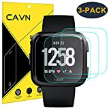 CAVN 3-Pack Compatible Fitbit Versa Screen Protector 9H Tempered Glass Screen Protector Compatible Fitbit Versa Smart Watch [2.5D Round Edge] [9H Hardness] [Crystal Clear] [Anti-Scratch] [No-Bubble]