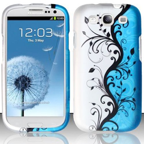 For Samsung Galaxy S3 III GT-i9300 Only, Black Flower Vine on Blue and Silver Design, Matted Surface Hard Plastic Case Skin Cover Faceplate + Peace Charm and Strap Combo