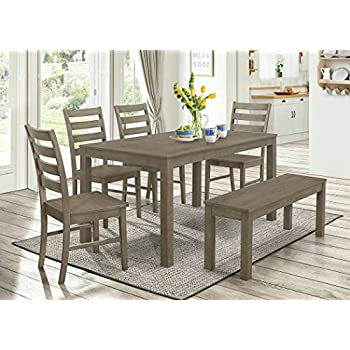 WE Furniture 6 Piece Homestead Wood Dining Set   Aged Grey