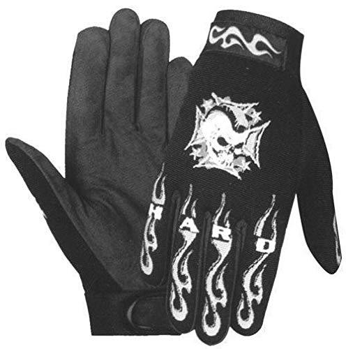(Xelement XG44607 'Hardcore Mohawk' Men's Black Textile Mechanic Skull Gloves - Large)