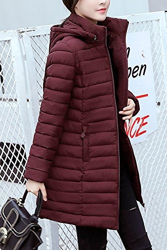 Casual Women Winter Zip Sevozimda Outwear Parkas Wined Slim Ultralight Hooded Quilted Warm Long RU5BgBWqAw