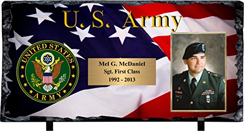 - Awards, Trophies and Plaques Personalized Army Slate Stone Plaque with Photograph & Engraving