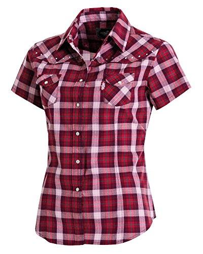51qX4wYmt%2BL - Westernwear-Shop Stars & Stripes Damen Kurzarm-Westernbluse Doreen Edition Damen Westernhemd Westernkleidung Westernshirt Westernoberteil Westernoutfit für Frauen Rot