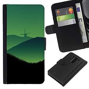 LG G3 D855 D850 D851 , la tarjeta de Crédito Slots PU Funda de cuero Monedero caso cubierta de piel ( Wind Mill Hills Landscape Green Mist View Art)