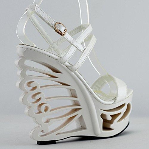 Blanco Talón Mariposa Tiras De Cuña Forma Novia Lf51801 Sexy Zapatos En Story Show Sandalias Boda 6fZxnBqvwA