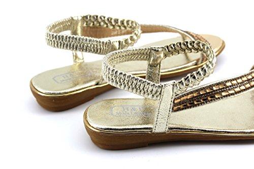 Modelisa - Sandalias Trenzada Mujer Oro