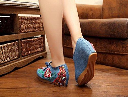 WXT Zapatos bordados, lino, lenguado del tendón, estilo étnico, zapatos femeninos aumentados, manera, cómodo, ocasional denim blue