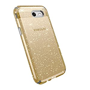 Speck Products Presidio Clear + Glitter Cell Phone Case for Samsung J3 (2017) - Clear With Gold Glitter