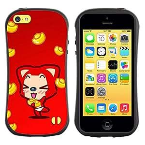 Fuerte Suave TPU GEL Caso Carcasa de Protección Funda para Apple Iphone 5C / Business Style Cute Fox