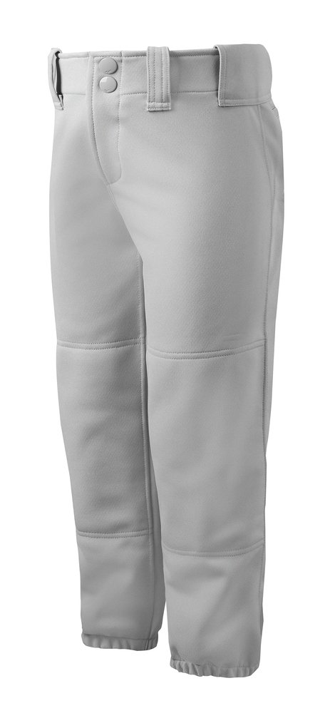 Mizuno Adult Women's Belted Low Rise Fastpitch Softball Pant, Grey, Small