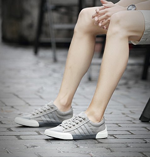 Honeystore Unisex Sneaker Low Damen Herren Turnschuhe Übergrößen Basic Freizeitschuhe Stoffschuhe Metallic Glitzer Schuhe Grau