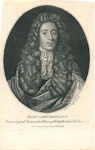- Richard Lord Maitland 1798 fine antique engraved historical portrait