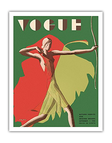 1931 Cover (Vogue Magazine Cover - September, 1931 - Female Archer - Vintage Magazine Cover by Eduardo Garcia Benito c.1931 - Fine Art Print - 11in x 14in)