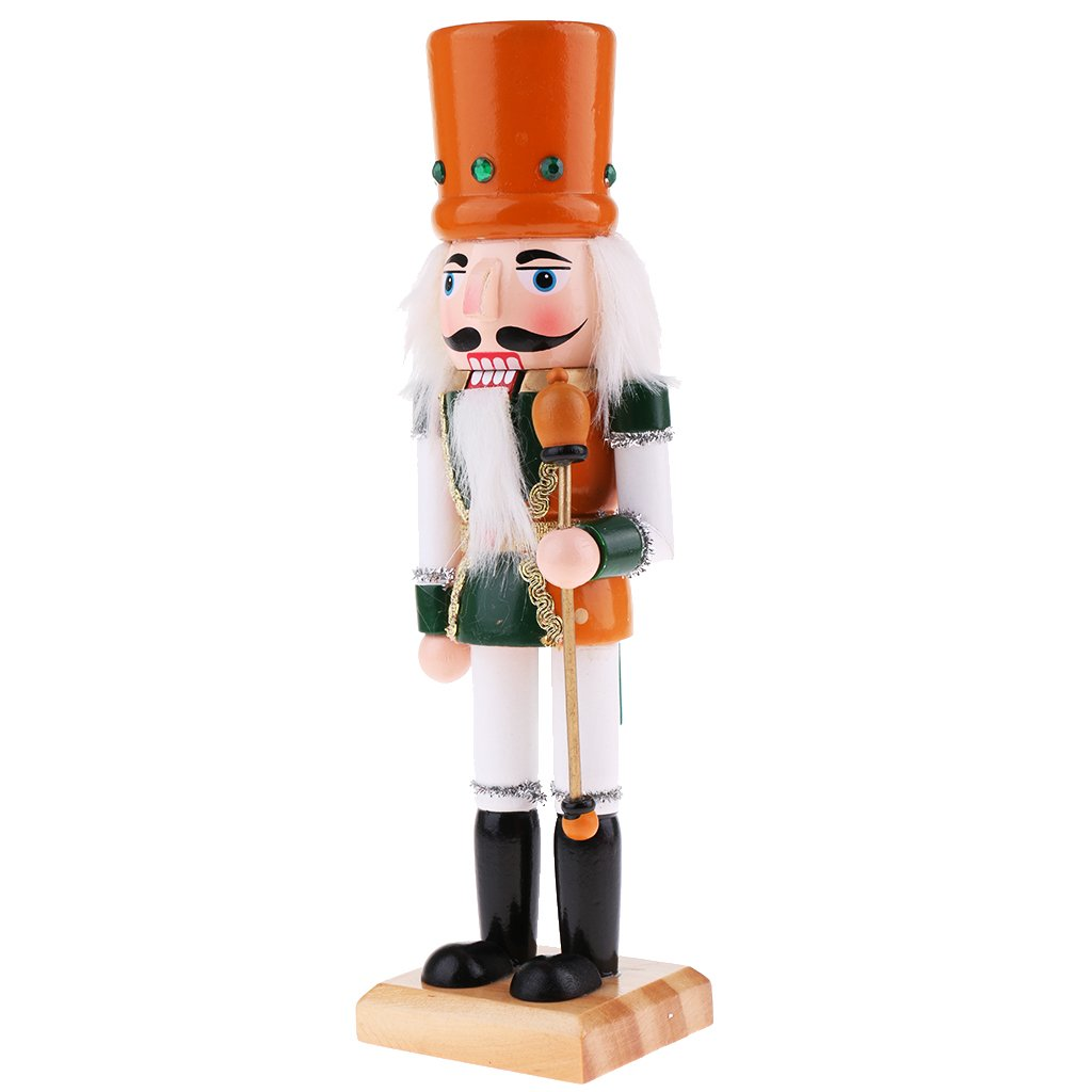 Homyl 25cm Wooden Solider Nutcrackers with Cane Puppets Doll Toy Action Figurie Christmas Xmas Holiday Home Decorations Kids Gift