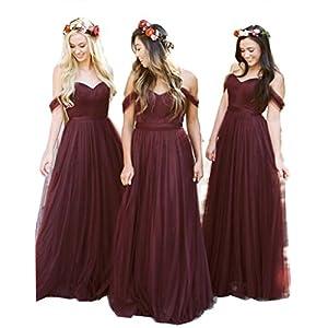 e4a9f8fb264 Fanciest Women s Off The Shoulder Tulle Long Bridesmaid Dresses 2018 Wedding  Party Dress Burgundy US6