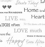 Brewster 2900-40427 FD40427 Wall Words Wallpaper - Black/Silver