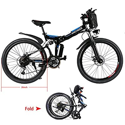 Eshion Folding Electric Mountain Bike, 26 Inch Wheel, Removable Lithium-Ion Battery (36V 250W), Premium Full Suspension and Shimano Gear【US STOCK】