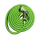 Garden retractable hose Scalable Car wash supplies Garden water pipe Natural latex car washing watering Household spray gun Copper fittings 2500D high-strength cloth cover ABS green , green
