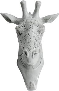 HERNGEE Giraffe Head Single Wall Hook / Hanger Animal Shaped Coat Hat Hook Heavy Duty, Rustic, Decorative Gift , Grey