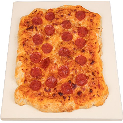 CucinaPro 815 Oven, Grill, BBQ-Rectangular Pizza Baking Stone-XL 16'' x 14'' Pan for Perfect Crispy Crust, Light Brown by CucinaPro (Image #2)